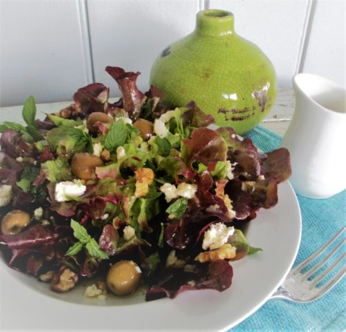 olive fetta salad with Dukkah